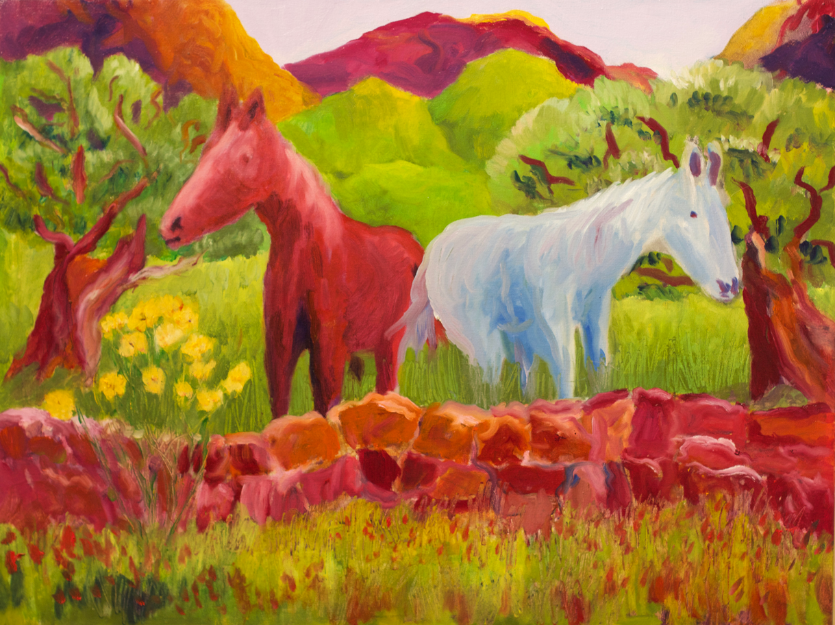 Lor Kasper Artist Taos New Mexico Two Horses and Stonewall Provence France