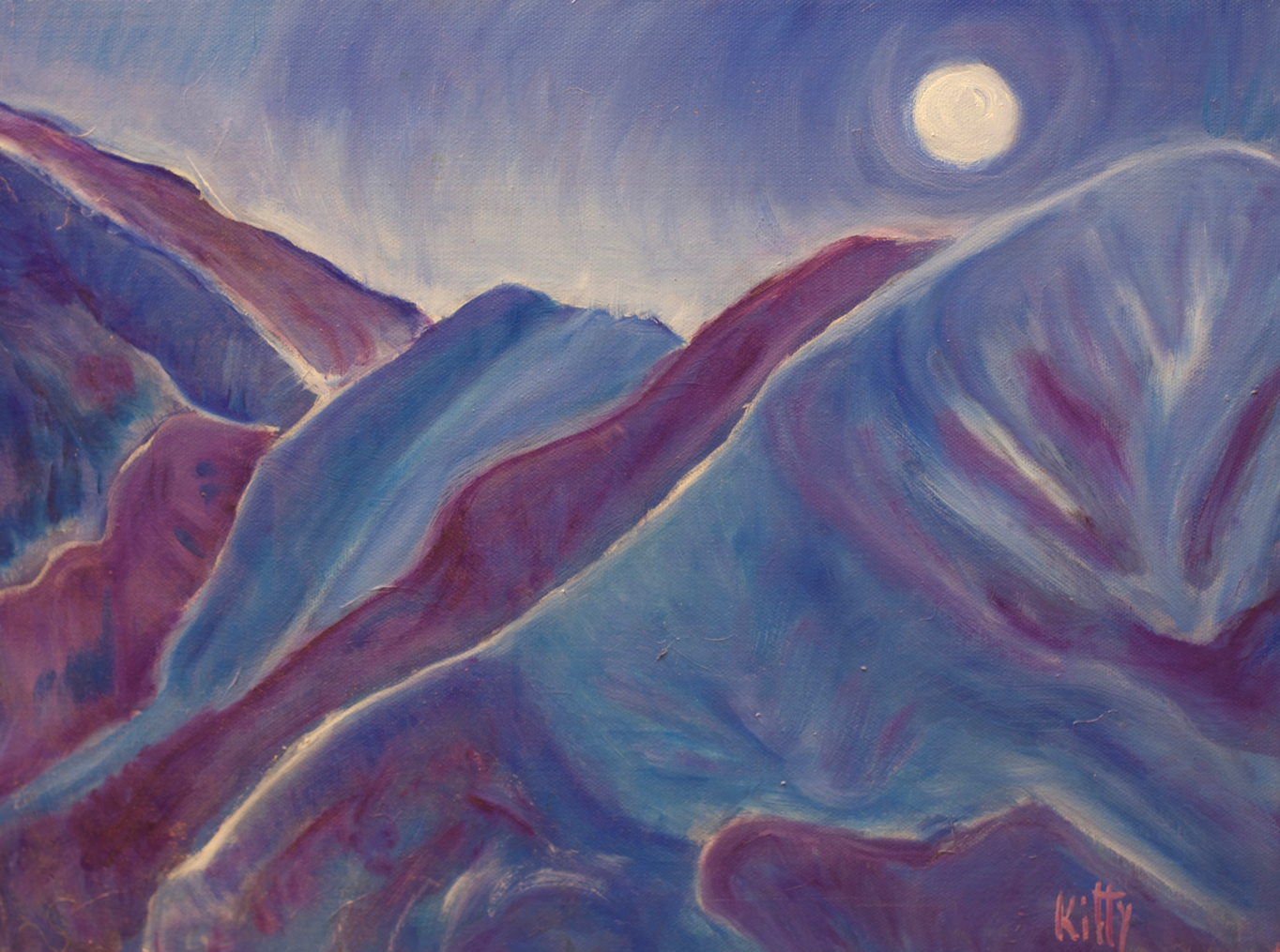 Kitty Ryan Artist Moonlight on Mountains Taos New Mexico