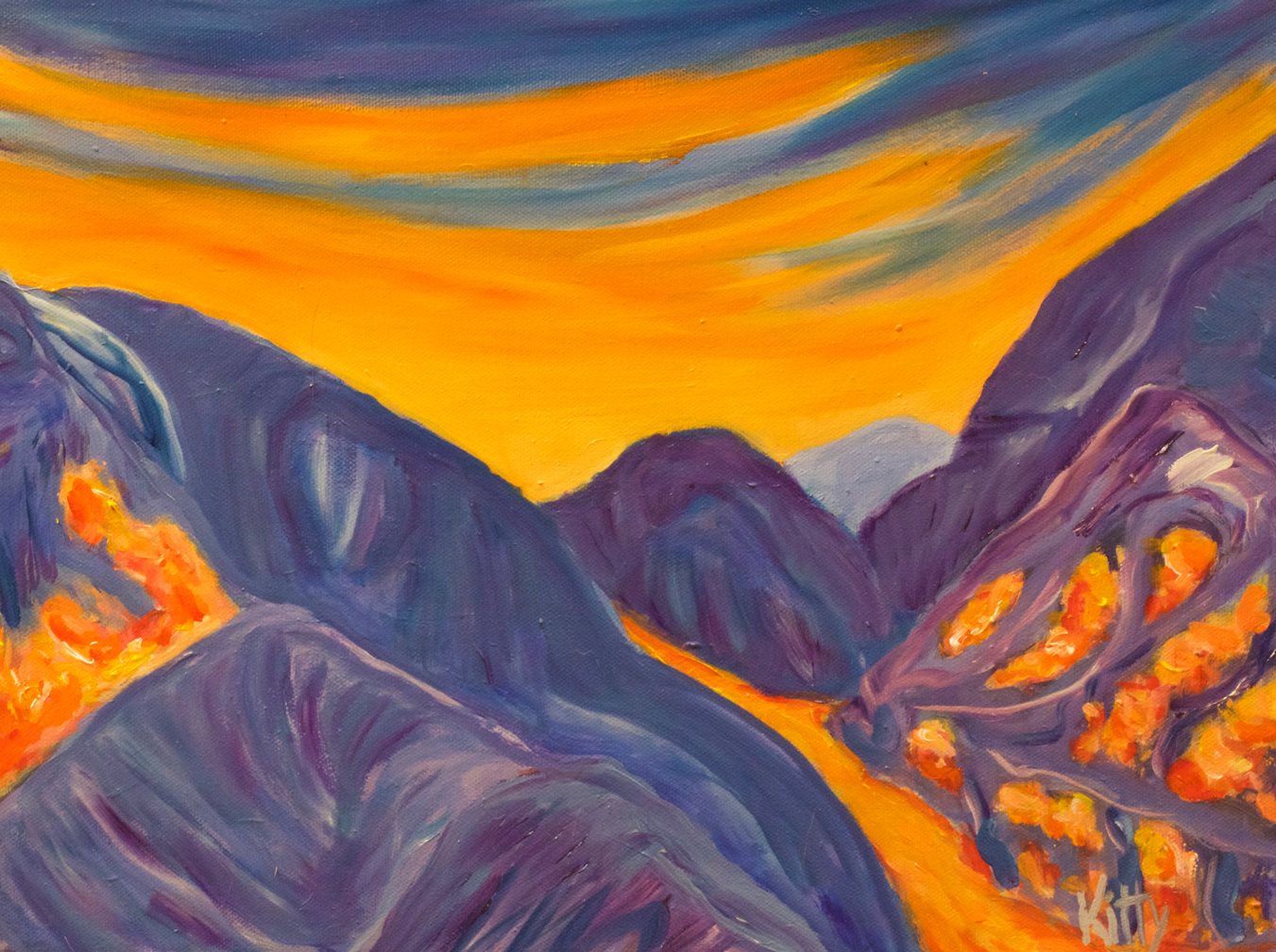 Kitti Ryan Artist Sunset on Mountains Taos New Mexico